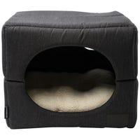 La Doggie Vita Foldable Cube Charcoal Dog Bed - Small