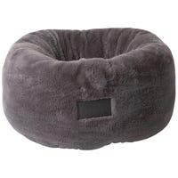 La Doggie Vita Plush Donut Charcoal Dog Bed - Medium
