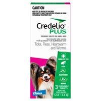 Credelio Plus Dog Flea Tick & Worming Chews 2.8-5.5Kg - 3pk