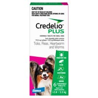 Credelio Plus Dog Flea Tick & Worming Chews 2.8-5.5Kg - 6pk
