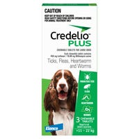 Credelio Plus Dog Flea Tick & Worming Chews 11-22Kg - 3pk