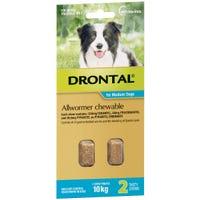 Drontal Wormer Medium Dog 10kg Chews - 2pk