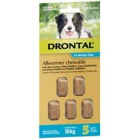 Drontal Wormer Medium Dog 10kg Chews - 5pk