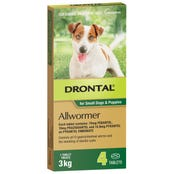 Drontal Wormer Tablets Small Dog 3kg - 4pk