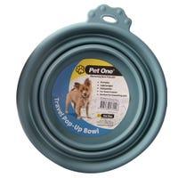 Pet One Silicone Round Blue Stone Travel Bowl - 370ml