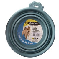 Pet One Silicone Round Blue Stone Travel Bowl - 760ml