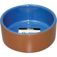Pet One Terracotta Blue Glazed 11.7Cm Pet Bowl - 450ml