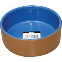 Pet One Terracotta Blue Glazed 15.2Cm Pet Bowl - 950ml