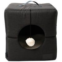 La Doggie Vita Foldable Cube Charcoal Cat Bed - Each