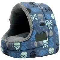 La Doggie Vita Cat House Hooded Indigo Cat Bed - Each