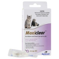 Moxiclear Flea & Worm Treatments For Cats Up To 4kg - 6pk