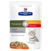 Hill's Prescription Diet Feline Metabolic C/D Urinary and Metabolic Chicken Wet Cat Food Pouch - 85g