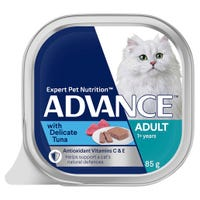 Advance Adult Cat Delicate Tuna Wet Cat Food Tray - 85g