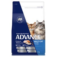 Advance Adult Cat Multi Cat Chicken and Salmon Dry Cat Food - 3kg