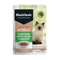 Black Hawk Feline Kitten Chicken and Peas in Gravy Wet Cat Food - 85g