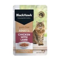 Black Hawk Feline Grain Free Adult Chicken with Lamb in Jelly Wet Cat Food - 85g