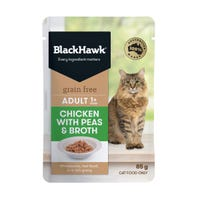 Black Hawk Feline Grain Free Adult Chicken with Peas and Broth in Gravy Wet Cat Food - 85g