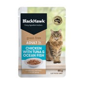Black Hawk Feline Grain Free Adult Chicken with Tuna and Ocean Fish in Gravy Wet Cat Food - 85g