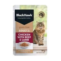 Black Hawk Feline Grain Free Adult Chicken with Beef and Lamb in Gravy Wet Cat Food - 85g