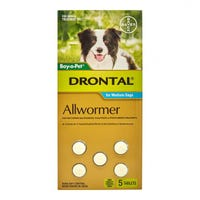 Drontal Wormer Medium Dog 10kg Tablets - 5pk