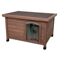Yours Drooly Flat Top Wooden Dog Kennel - Large