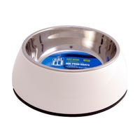 Catit Stainless Steel Insert 2 in 1 White Cat Bowl - Small