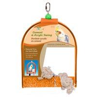 Living World Cement Swing with Acrylic Frame Bird Toy - Medium