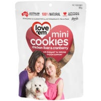 Love Em Chicken Liver and Cranberry Mini Cookies Dog Treats - 300g