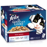 Felix Feline As Good As It Looks Meat Twin Menu Wet Cat Food 85g - 12pk