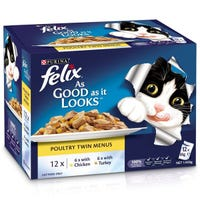 Felix Feline As Good As It Looks Poultry Twin Menu Wet Cat Food 85g - 12pk