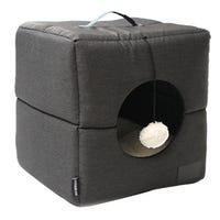 La Doggie Vita Water Resistant Foldable Cube Charcoal Cat Bed - Each