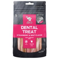 Billy & Margot Strawberry and Mint Dental Sticks for Small/Medium Breeds Dog Treats - 5pk
