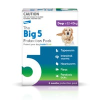Big 5 Flea, Tick and Worming Protection for Dogs 22-45kg Chews and Tablets - 6pk