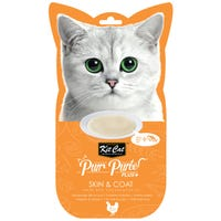 Kit Cat Purr Puree Plus Skin and Coat Care Chicken and Fish Oil Cat Treat 15g - 4pk