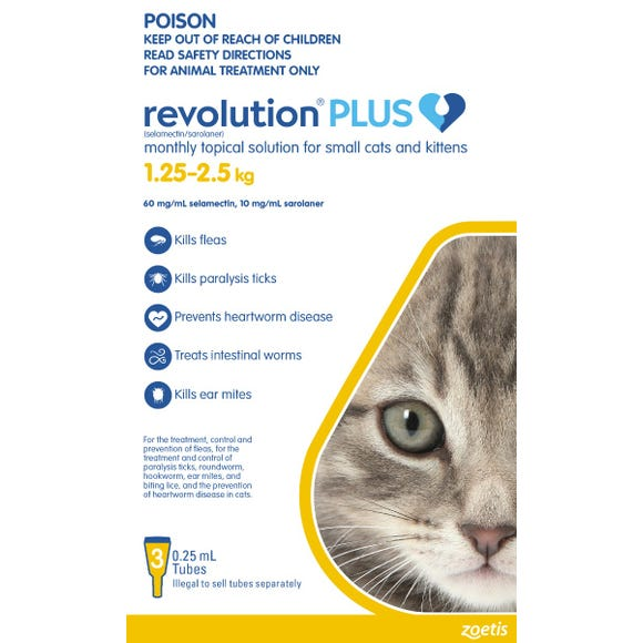 Revolution Plus Cat Kitten Flea Tick And Worming Spot On 1 25 2 5kg 3pk Best Friends Pets