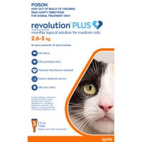 Revolution Plus Cat Flea, Tick And Worming Spot On Medium Cat 2.6-5kg - 3pk