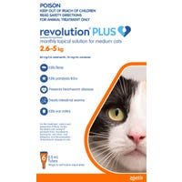 Revolution Plus Cat Flea, Tick And Worming Spot On Medium Cat 2.6-5kg - 6pk