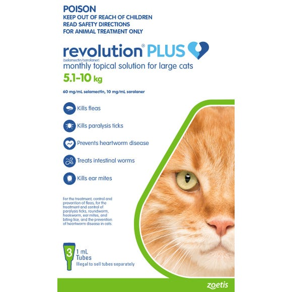 Revolution Plus Cat Flea Tick And Worming Spot On Large Cat 5 1 10kg 3pk Best Friends Pets