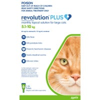 Revolution Plus Cat Flea, Tick And Worming Spot On Large Cat 5.1-10kg - 6pk