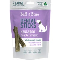 Bell & Bone Kangaroo and Mint Dental Sticks Dog Treats Large - 7pk