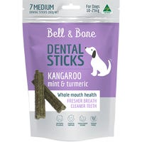 Bell & Bone Kangaroo and Mint Dental Sticks Dog Treats Medium - 7pk