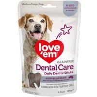 Love Em Dental Sticks Medium Large Dog Treats - 145g