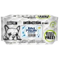Absorb Plus Antibacterial Dog Wipes Baby Powder 20 x 15cm - 80pk